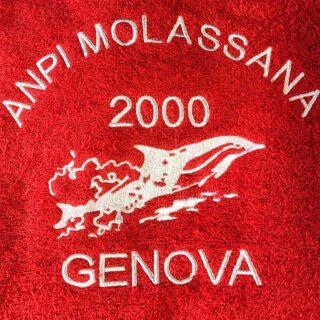 Ricamo su accappatoio ⚪️🔴 - - #ricami #tshirt #promotionalproducts #ricami #embroidery #genova #zena #picoftheday #brand #voltri #accappatoio #red #work #promotion #promo #pubblicità #merchandising #agency